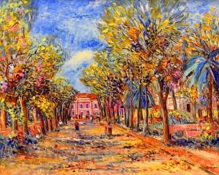 Angelo Favaro - Mostra Artisti per Lanciano - I viali - Olio su tela - cm. 50 x 40