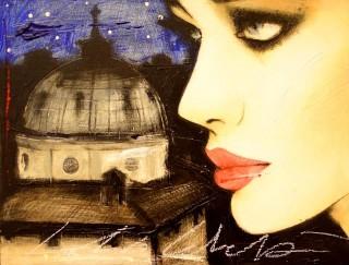 Fabio Calvetti - Mostra Artisti per Lanciano - Notte di stelle - Tecnica mista su tela - cm. 40 x 30