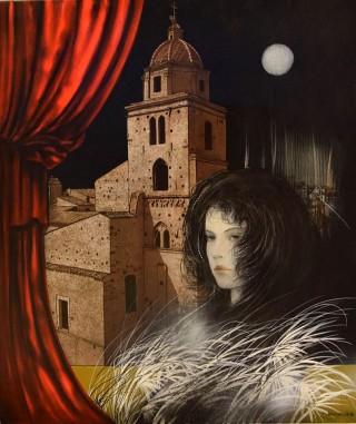 Riccardo Benvenuti - Mostra Artisti per Lanciano - La notte di Lanciano - Dipinto su tela - cm. 60 x 70